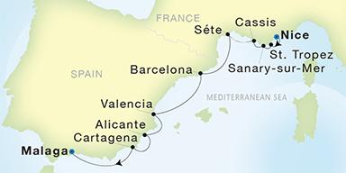 Map Of Spain Showing Malaga.Seadream Yacht Club Nice To Malaga Seadream I