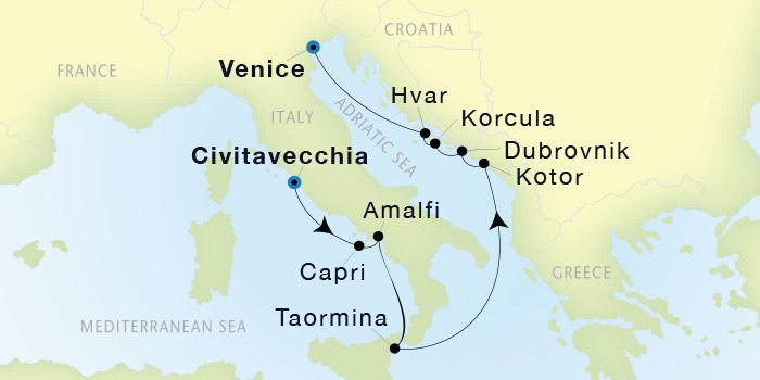 SeaDream Yacht Club Civitavecchia Rome to Venice SeaDream I