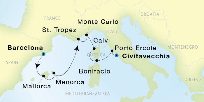 SeaDream Yacht Club Barcelona to Civitavecchia Rome SeaDream I