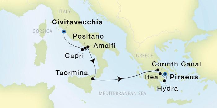 SeaDream Yacht Club Civitavecchia Rome to Athens Piraeus