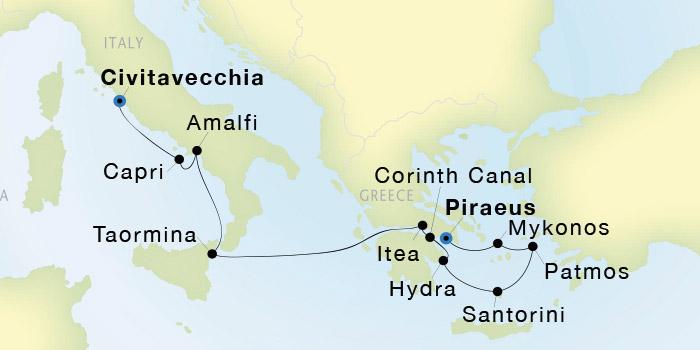 ab1343350 SeaDream Yacht Club  Athens (Piraeus) to Civitavecchia (Rome ...