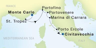 SeaDream Yacht Club Monte Carlo to Civitavecchia Rome SeaDream II