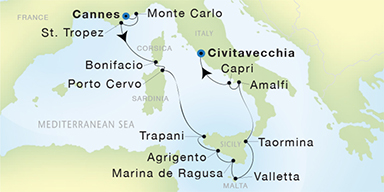SeaDream Yacht Club Cannes to Civitavecchia Rome SeaDream II