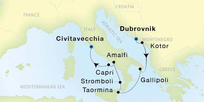 SeaDream Yacht Club Dubrovnik to Civitavecchia Rome SeaDream II